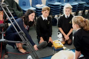 'Pupils at Humphry Davy School, Penzance, undergoing training covered by BBC Spotlight Television'.